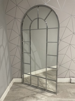 Silver Metal Curved Window Wall Mirror 150cm x 70cm
