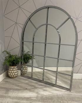 Silver Metal Curved Window Wall Mirror 100cm x 80cm
