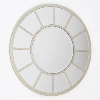 Round Champagne Silver Coloured  Window Mirror 70cm x 70cm