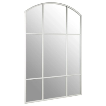 White  Curved Window Wall Mirror 140cm x 90cm