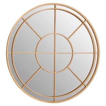 Round Gold Metal framed Window Mirror 93cm x 93cm