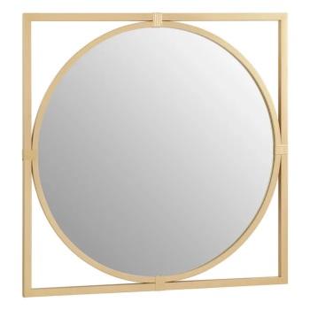 Square framed Round Gold Metal  Window Mirror 92cm x 92cm