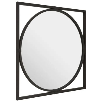 Square framed Round Black Metal Window Mirror 92cm x 92cm