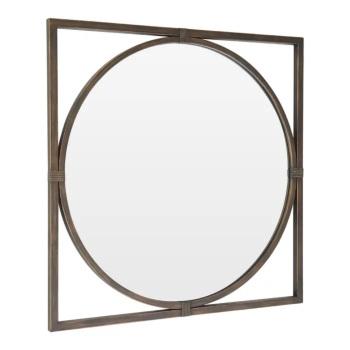 Square framed Round Bronze Metal Window Mirror 92cm x 92cm