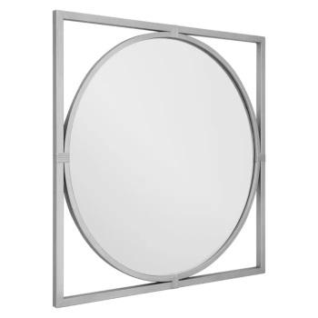 Square framed Round Silver Metal Window Mirror 92cm x 92cm