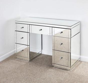 * Monica Venetian Mirrored 7 Draw Dressing Table - in Stock
