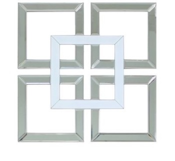 Geometric Squares Wall Mirror Silver and White 40cm x 40cm (A)