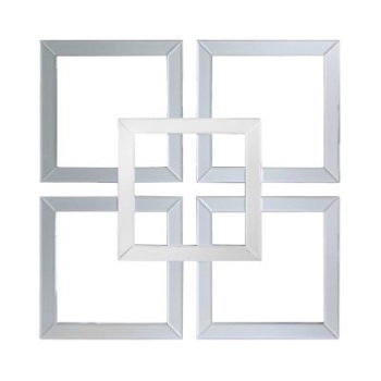 Geometric Squares Wall Mirror in Grey & Silver 90cm x 90cm (A)