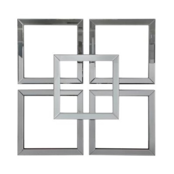 Geometric Squares Wall Mirror in Smoked Grey & Silver 90cm x 90cm (A)
