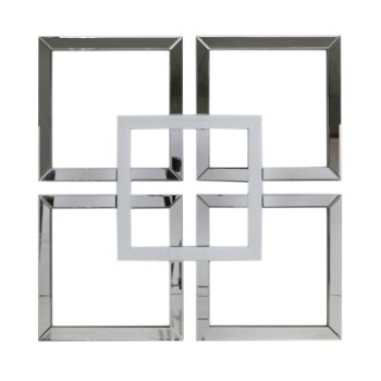 Geometric Squares Wall Mirror Silver and White 90cm x 90cm (A)