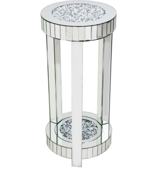* Diamond Crush Sparkle Crystal round Mirrored Lamp Table Large