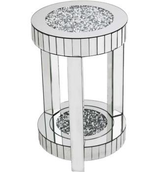 * Diamond Crush Sparkle Crystal round Mirrored Lamp Table Small