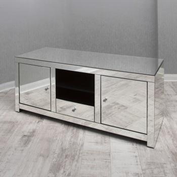 * Silver Mirrored TV Entertainment Unit 130cm