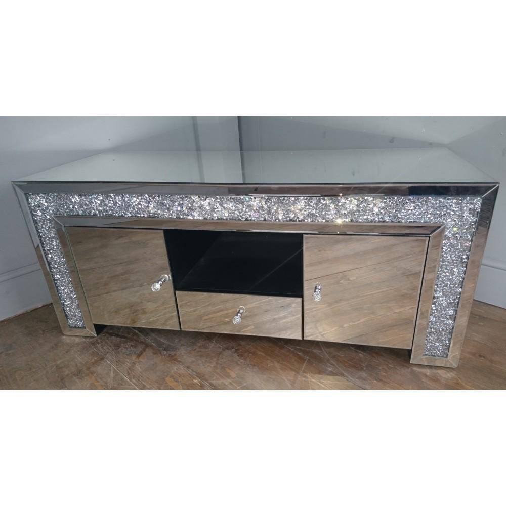 #**SPECIAL OFFER ** Diamond Crush Large TV Entertainment Unit 150cm x 50cm
