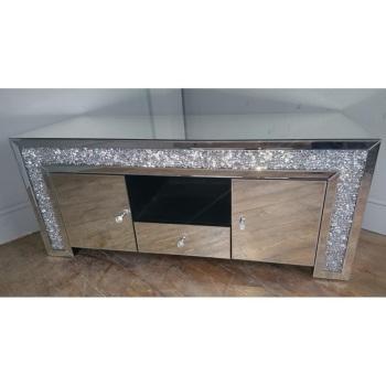 #**SPECIAL OFFER ** Diamond Crush Large TV Entertainment Unit 150cm x 50cm deep x 55cm high -Stock  due late October