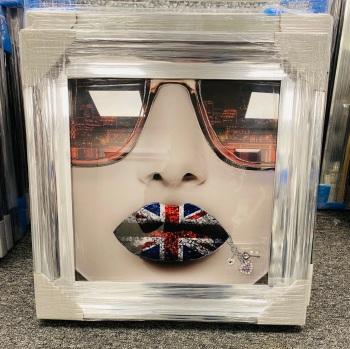 """""""Union Jack sparkle Lips"""" chrome  frame Wall Art"""