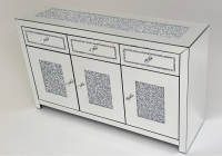 *Diamond Crush Sparkle Crystal Mirrored 3 draw 3 Door Sideboard with crystal Top