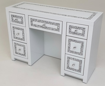 * Diamond Crush Mirrored  White 7 Draw Dressing Table