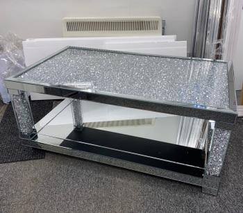 * New Diamond Crush Crystal Pillar Mirrored Rectangular Coffee Table  In stock