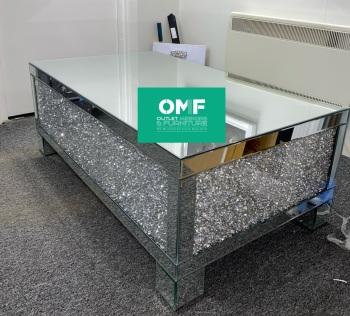 * New Diamond Crush Crystal Block Mirrored Rectangular Coffee Table  In stock