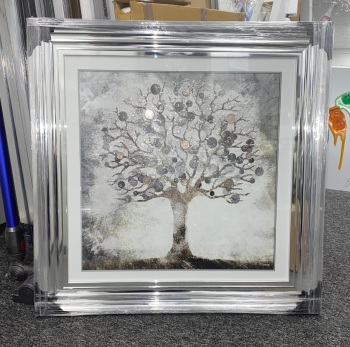"""""""Glitter Sparkle Money Tree"""" with real coins in a silver chrome stepped frame in stock"""