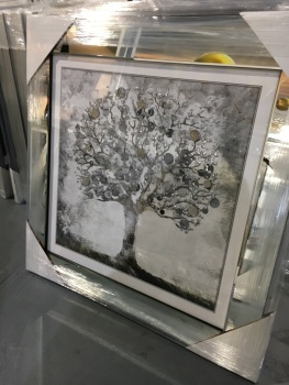 """""""Glitter Sparkle Money Tree"""" with real coins in a silver mirror stepped frame"""