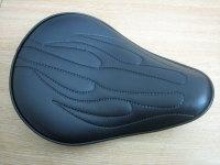 4 cm Thin Flamed Solo Seat Black Vinyl Harley Chopper Bobber