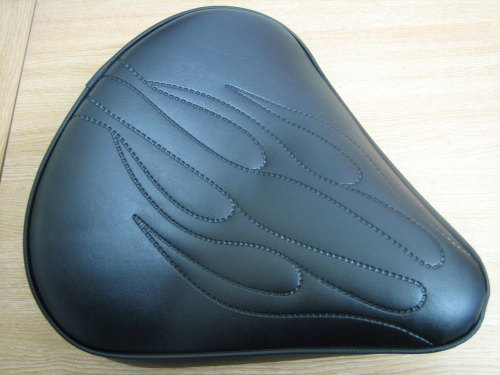 Flamed Large Solo Seat 6cm Thick Black Vinyl Harley Custom Bobber Chopper