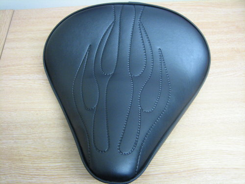 Flamed Large Solo Seat 4cm Thick Black vinyl Harley Chopper Bobber