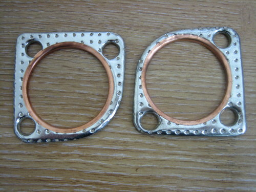 Copper Exhaust gasket set 3 hole mounting pattern for use in fabricating cu