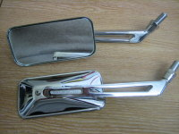 1 pair Oblong Mirrors Chrome 4 1/4