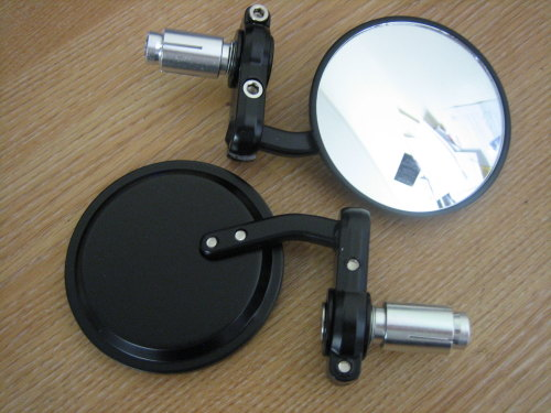 Black Round Bar End Mirrors Fits 7/8