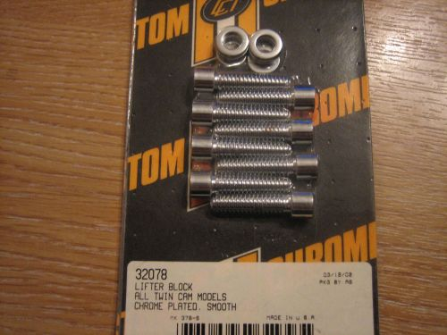 Chrome Lifter Block Bolt Kit Fits Dyna 99-05 Smooth. Harley Davidson