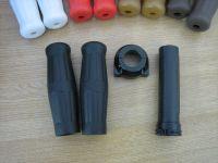"""1"""" Black Grips with Black Push Pull Throttle & Pipe for Harley Davidson Chopper Bobber Custom"""