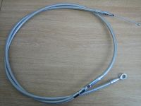 """68.7"""" Long Clutch Cable Argent Stainless Steel with Clear Cover Fits Most Big Twin Harley Davidson"""