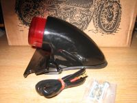 Sparto Gloss Black Extended Lens Tail Light. Cycle Haven. Fits Chopper Bobber Cafe Racer Harley