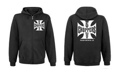 West Coast Choppers Iron Cross Hooded Zipped Sweat Shirt Black With White P