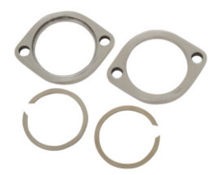 Exhaust Flange STAINLESS STEEL and Retaining Rings Fits all Big Twins & Spo