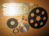 Sportster 2000 to 2003 Harley chain conversion Combo * BLACK * 48T rear 21T Trans & GOLD finish