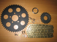 Sportster 94-05 21T Transmission sprocket + 48T * BLACK * rear wheel + 120 Link O-Ring  Chain conversion combo parts for Harley Davidson