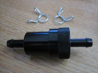 Black Aluminum Fuel Filter 5/16 Fuel Line with Screen Harley Chopper Bobber Custom Cycle Haven