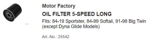25542 oilf filter correction