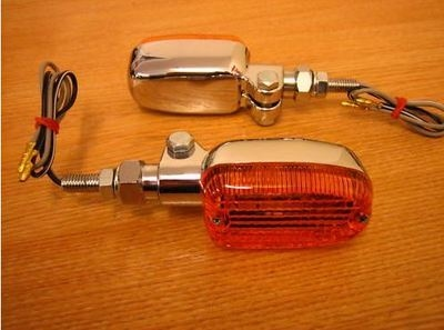 Adjustable Chrome Stem Amber Oblong Indicators - Cycle Haven. Fits Harley,