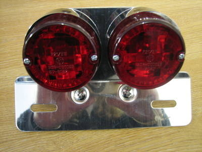 Twin Round Tail Light W/Bkt Harley Bobber Custom Cafe Racer Cycle Haven
