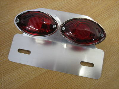Mini Twin Cats Eye Tail Light With Alloy Bracket Harley Bobber Cafe Racer C