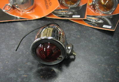 Chrome Bullet Marker Light with Red Lens- Cycle Haven Fits Harley Custom Ch