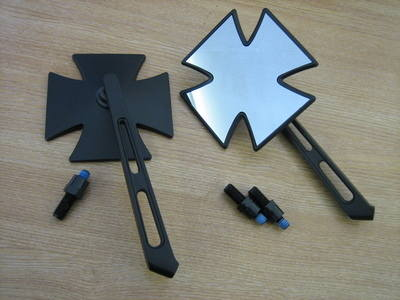 Maltese IRON CROSS Mirror Black 1pr Fits Japanese Motor Cycles 248