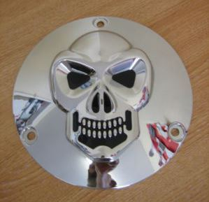 SKULL Twin Cam Derby cover for Big Twin Harley Davidson models 70 - 98