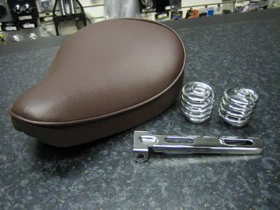 Brown Solo Seat Plain with Chrome Bracket & 2