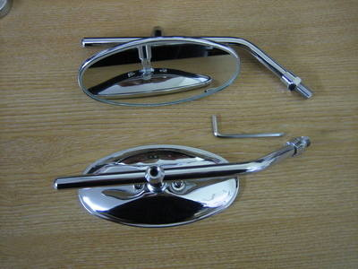 Chrome Oval Mirrors Metric Fitment Bolts in Sold in Pairs